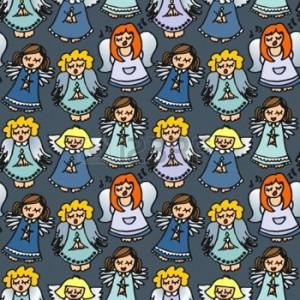 16213012-kleurrijke-zingende-engelen-op-marine-achtergrond-naadloze-patroon